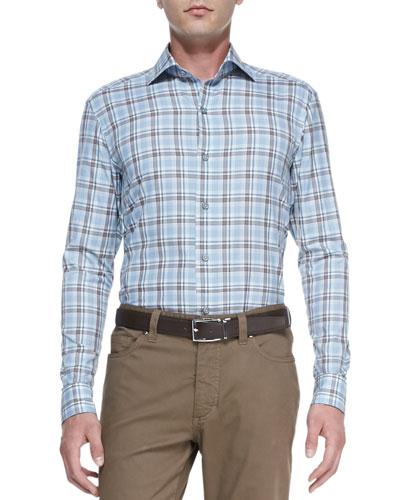 Ermenegildo Zegna Exploded-Plaid Long-Sleeve Shirt, Blue/Khaki