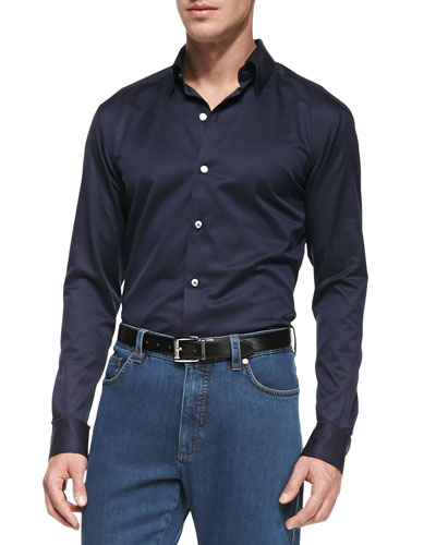 Ermenegildo Zegna Solid Woven Button-Down Shirt, Navy