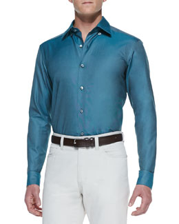 Ermenegildo Zegna Solid-Color Cotton Sport Shirt, Teal