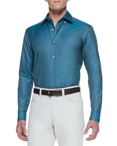 Ermenegildo Zegna Solid-Color Cotton Sport Shirt, Teal