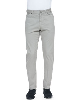 Ermenegildo Zegna Five-Pocket Pants, Putty (Ivory)