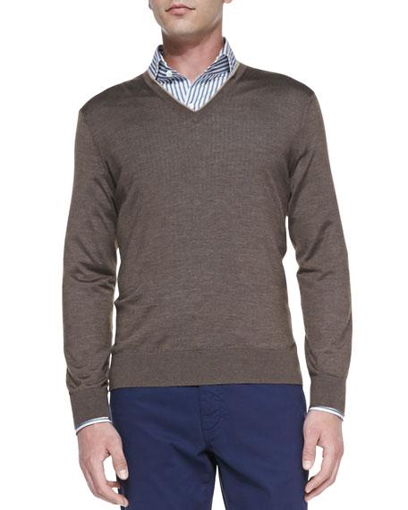 Cashmere-Silk V-Neck Sweater, Mushroom Fog