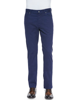 Ermenegildo Zegna Five-Pocket Twill Pants, Royal Blue
