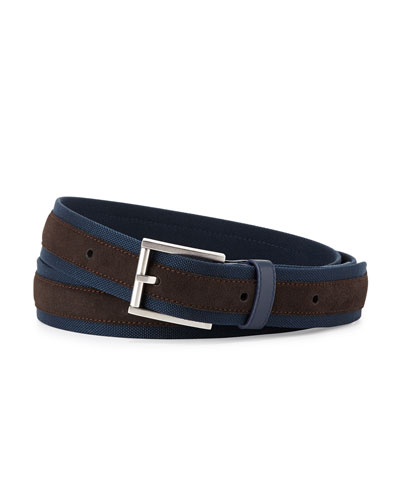 Alfred Dunhill Suede & Canvas Belt, Navy/Tan