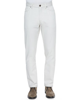 Ermenegildo Zegna Cotton/Cashmere Five-Pocket Pants, Cream