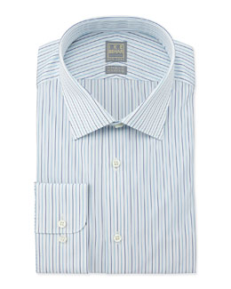 Ike Behar Mini-Stripe Dress Shirt, Aqua/White/Navy