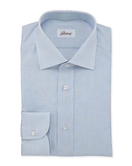 Brioni Textured Woven Dress Shirt, Blue