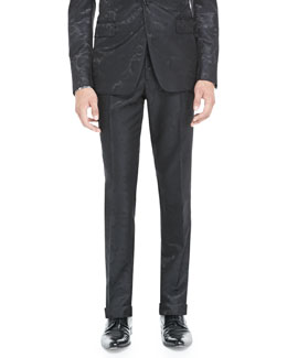 Etro Paisley Jacquard Tuxedo Pants, Black