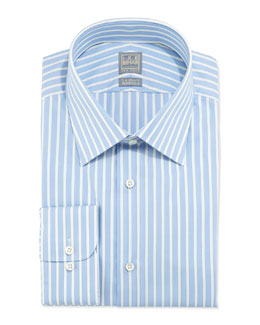 Ike Behar Striped Cotton Shirt, Blue Ice