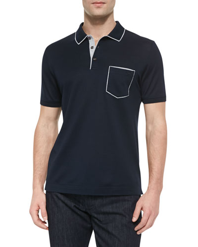 Salvatore Ferragamo Tipped Pocket Polo, Navy