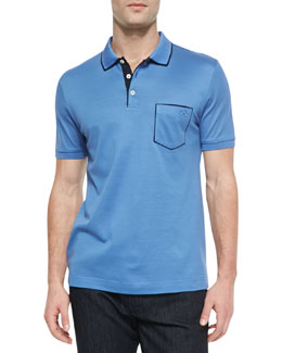 Salvatore Ferragamo Tipped Pocket Polo, Light Blue