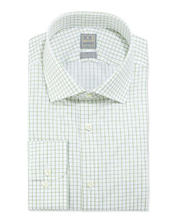 Ike Behar Graph-Check Dress Shirt, Green/White