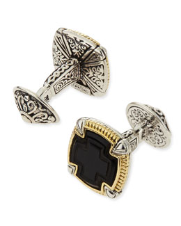 KONSTANTINO Ares Square Silver & 18k Gold Cuff Links