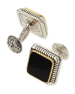 KONSTANTINO Silver, Gold, and Onyx Cuff Links