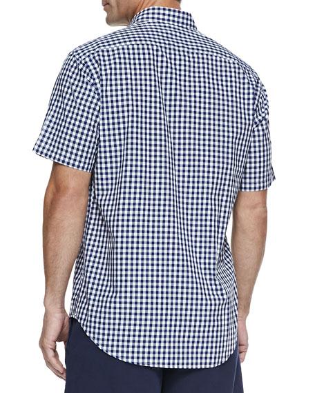 Gingham Short-Sleeve Shirt, Navy