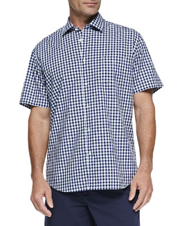 Neiman Marcus Gingham Short-Sleeve Shirt, Navy