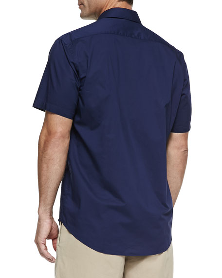 Solid Woven Short-Sleeve Shirt, Navy