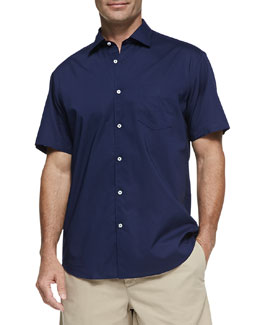 Neiman Marcus Solid Woven Short-Sleeve Shirt, Navy