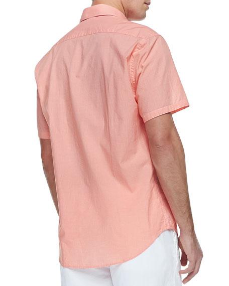 Micro-Gingham Short-Sleeve Shirt, Orange