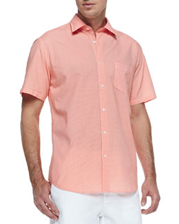 Neiman Marcus Micro-Gingham Short-Sleeve Shirt, Orange