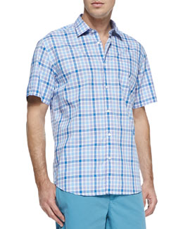 Neiman Marcus Check Woven Short-Sleeve Shirt, Blue