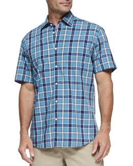 Neiman Marcus Large-Plaid Short-Sleeve Shirt, Turquoise