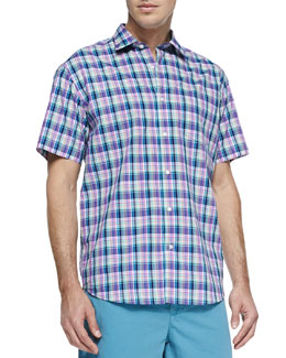 Neiman Marcus Multi-Plaid Short-Sleeve Shirt, Pink