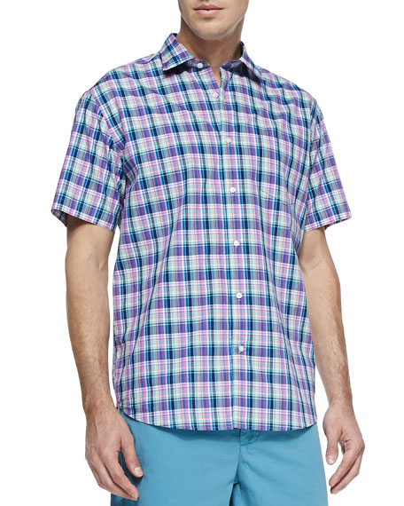 Multi-Plaid Short-Sleeve Shirt, Pink