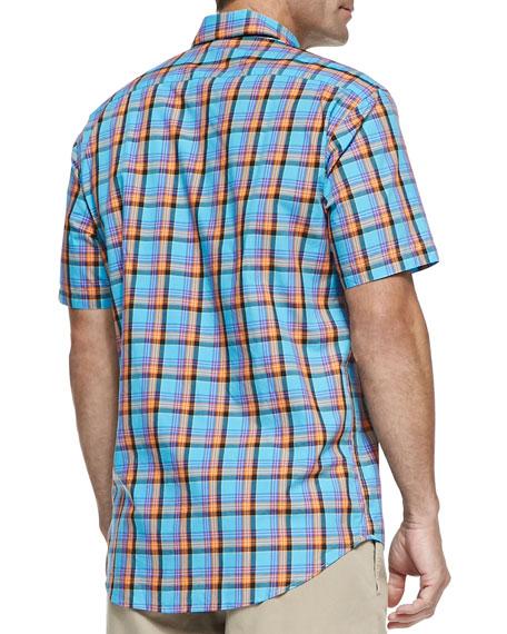 Multi-Plaid Short-Sleeve Shirt, Turquoise
