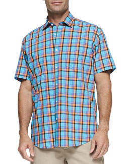 Neiman Marcus Multi-Plaid Short-Sleeve Shirt, Turquoise
