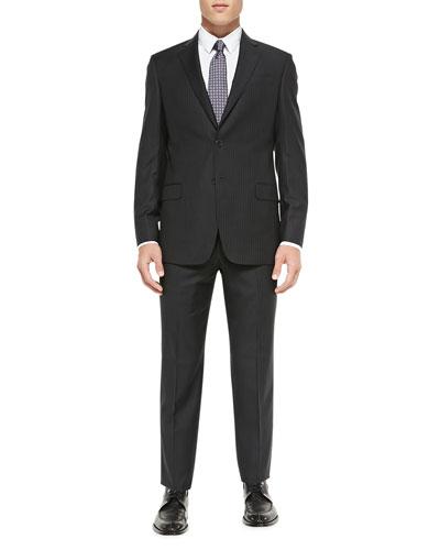 G-Line Herringbone Pinstripe Suit, Charcoal