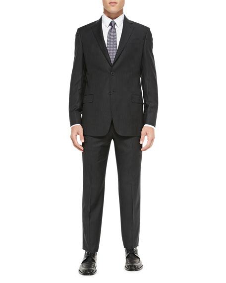 Armani Collezioni G-Line Herringbone Pinstripe Suit, Charcoal