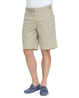 Neiman Marcus Cotton-Linen Blend Shorts, Tan