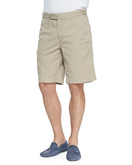 Cotton-Linen Blend Shorts, Tan