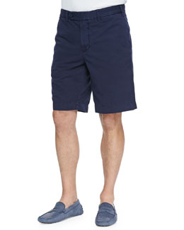 Neiman Marcus Cotton-Linen Blend Shorts, Navy
