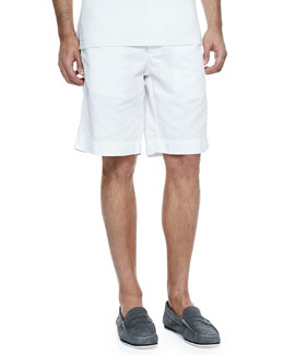 Neiman Marcus Cotton-Linen Blend Shorts, White