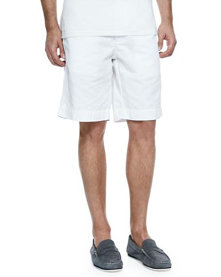 Cotton-Linen Blend Shorts, White