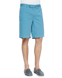 Neiman Marcus Cotton-Linen Blend Shorts, Teal