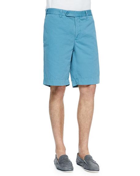 Cotton-Linen Blend Shorts, Teal