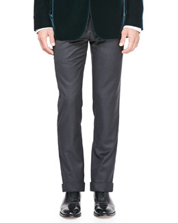 Giorgio Armani Solid Wool/Cashmere Trousers, Charcoal