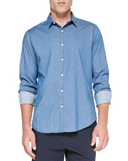 Theory Zack PS Ryerson Chambray Shirt, Blue