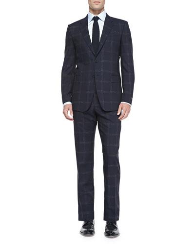 Paul Smith Paintbrush-Plaid Suit, Blue/Brown