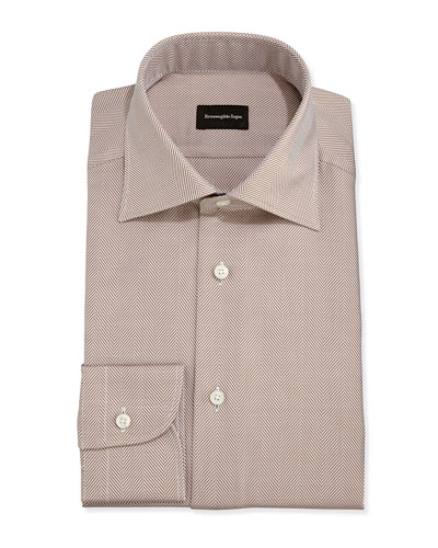 Ermenegildo Zegna Herringbone Twill Dress Shirt, Brown