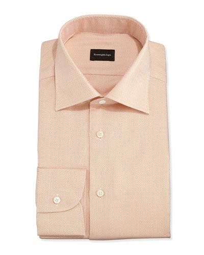 Ermenegildo Zegna Herringbone Twill Dress Shirt, Peach