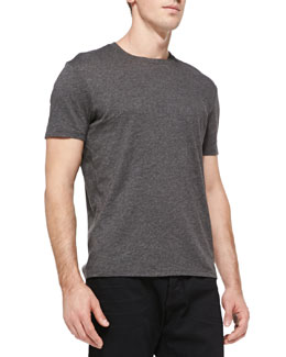 Vince Jersey Crewneck Tee, Heather Carbon