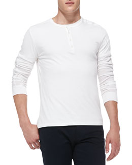 Vince Long-Sleeve Jersey Henley, White