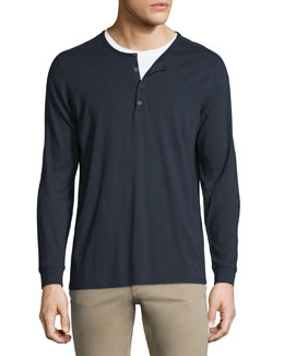 Vince Long-Sleeve Jersey Henley, Coastal
