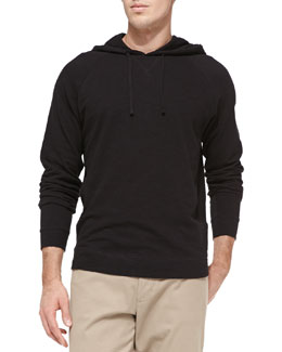 Vince Jersey Flame Hooded Pullover, Black