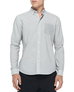 Vince Button-Down Shirt with Contrast Pocket, Gray
