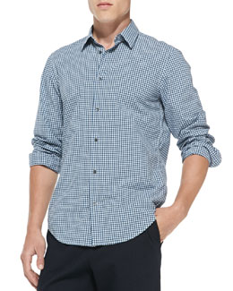 Vince Gingham-Check Button-Down Shirt, Blue
